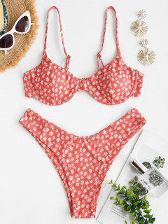ZAFUL Daisy Print Ribbed High Leg Bikini Swimwear - Red S