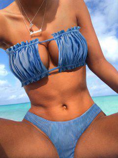 ZAFUL Ribbed Tie Cutout Bandeau Bikini Swimsuit - Silk Blue M