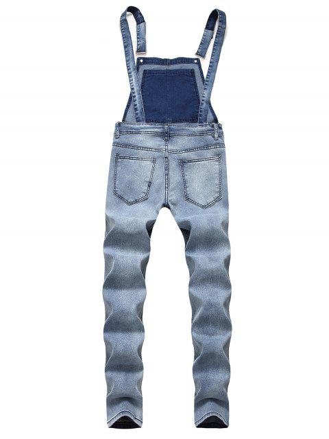 sale Solid Color Ripped Zipper Denim Overalls - LIGHT BLUE M Mobile