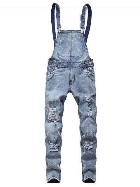 womens Solid Color Ripped Zipper Denim Overalls - LIGHT BLUE 2XL Mobile