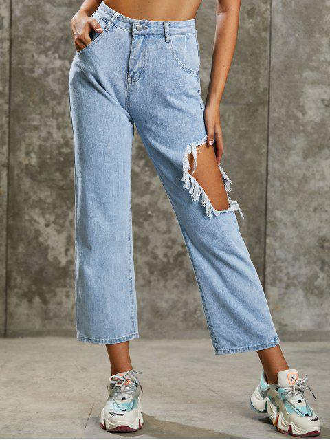 ladies Grunge Distressed High Waisted Baggy Jeans - LIGHT BLUE L Mobile