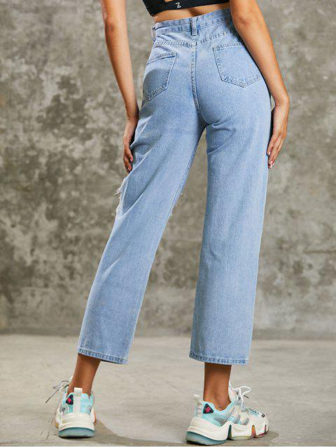 shop Grunge Distressed High Waisted Baggy Jeans - LIGHT BLUE M Mobile