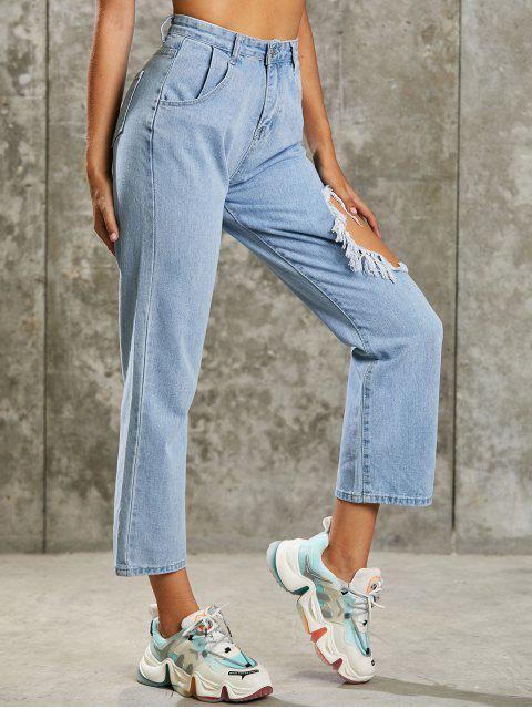 fashion Grunge Distressed High Waisted Baggy Jeans - LIGHT BLUE XL Mobile