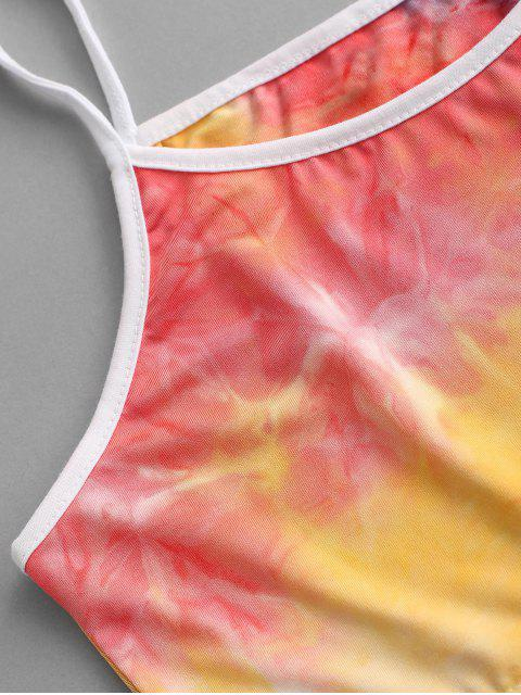 Kontrast Absteppungen Geschlitzt Krawattenfärben Zweiteiliges Set - Lila M Mobile