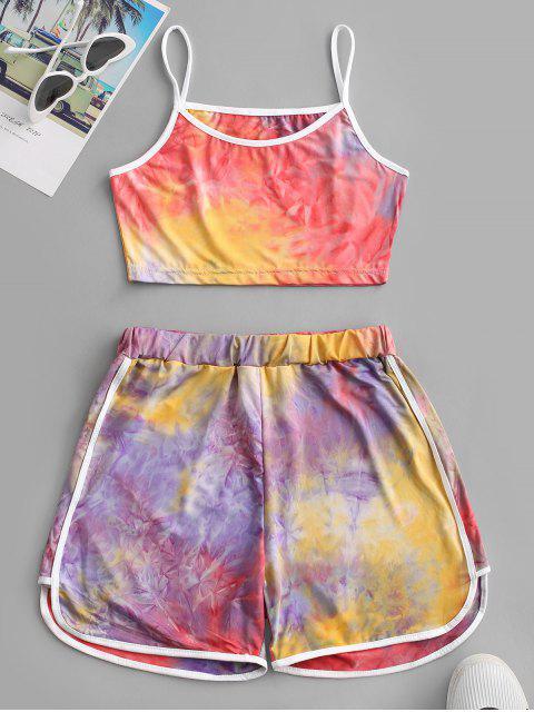 hot Contrast Trims Tie Dye Two Piece Set - PURPLE M Mobile