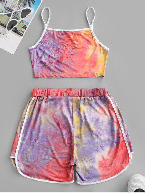 outfits Contrast Trims Tie Dye Two Piece Set - PURPLE XL Mobile