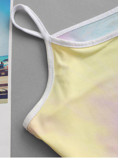 latest Contrast Trims Tie Dye Two Piece Set - LIGHT BLUE L Mobile