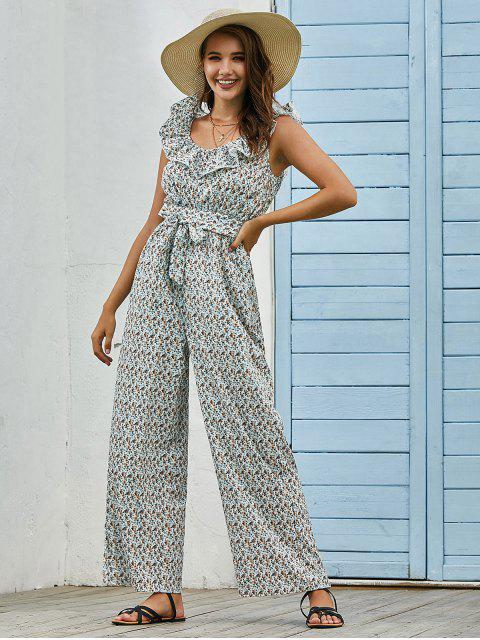 buy Belted Ruffles Ditsy Floral Wide Leg Jumpsuit - WHITE L Mobile