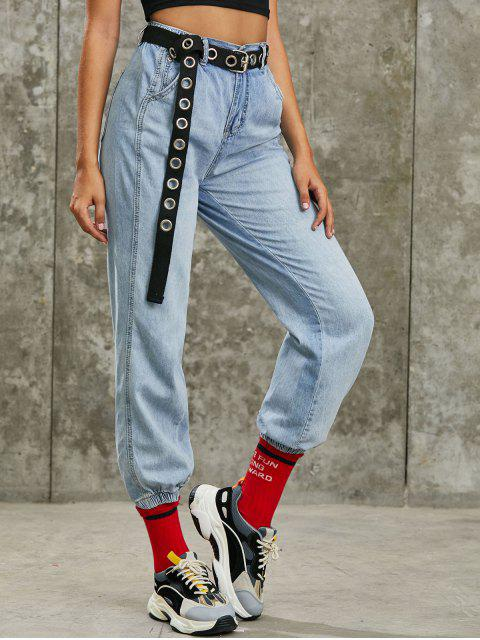 sale Zip Fly High Waisted Pocket Jogger Jeans - BLUE M Mobile