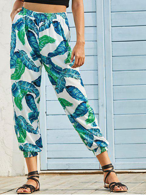 shops Tropical Leaf Print Pocket Jogger Pants - GREEN L Mobile
