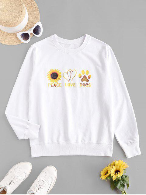 women Sunflower Graphic French Terry Sweatshirt - WHITE XL Mobile