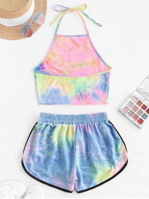 shops Two Piece Halter Tie Dye Dolphin Shorts Set - LIGHT PINK L Mobile