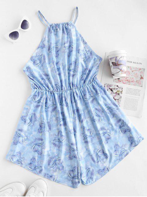 shops Dragon Print Oriental Wide Leg Romper - LIGHT BLUE M Mobile