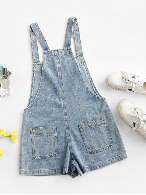 Mono Femenino de Tirantes Finos de Denim con Bolsillos con Botones a Presión - Azul claro L Mobile