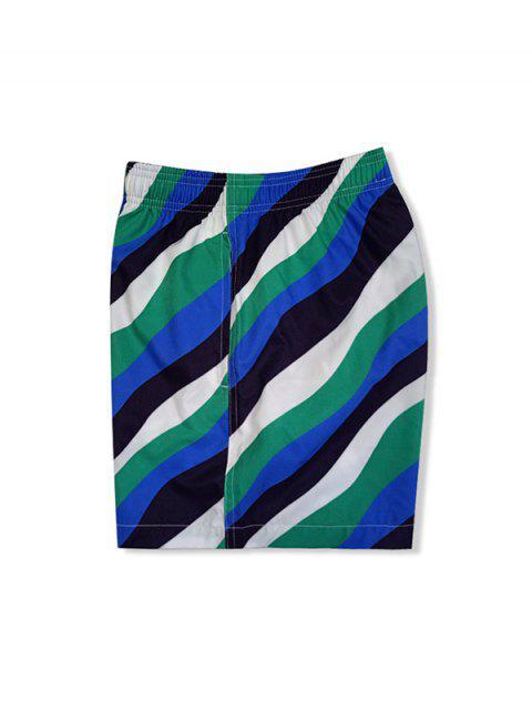 trendy Color Blocking Striped Elastic Waist Shorts - MULTI-A XL Mobile