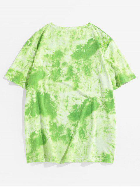 ZAFUL Tie Dye Printing Short Sleeves T-shirt - أخضر 2XL Mobile