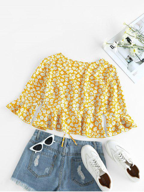 lady ZAFUL Cinched Ditsy Print Bell Sleeve Blouse - RUBBER DUCKY YELLOW S Mobile