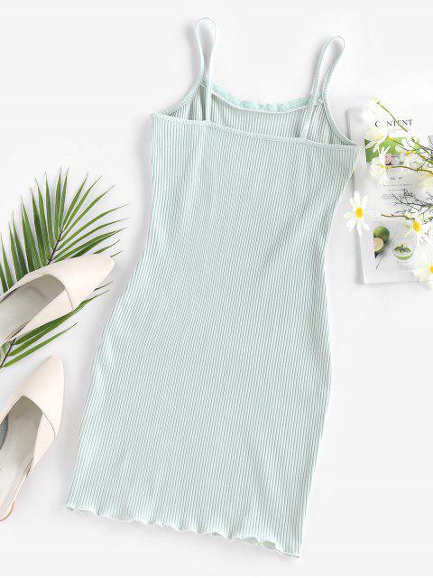 fashion ZAFUL Ribbed Mini Bodycon Dress - LIGHT GREEN S Mobile