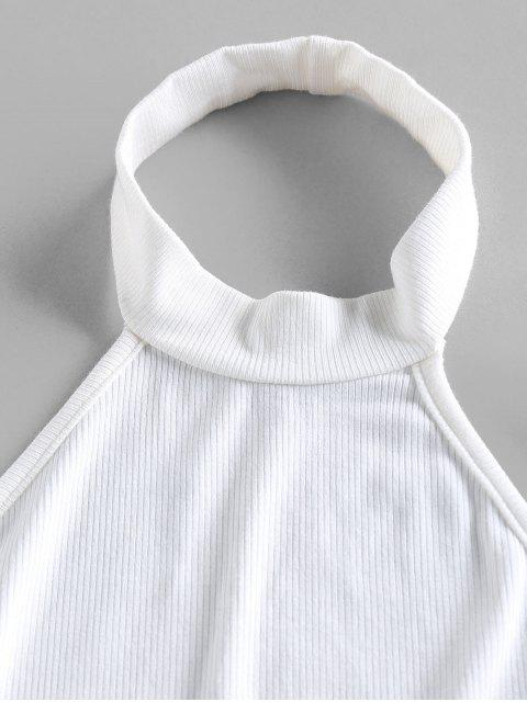chic ZAFUL Ribbed Halter Open Back Crop Tank Top - WHITE M Mobile