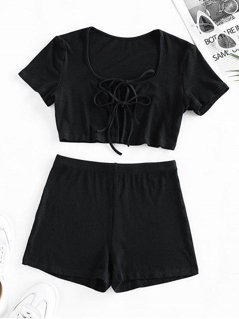 ZAFUL Geripptes Shorts mit Hoher Taille Set - Schwarz S Mobile