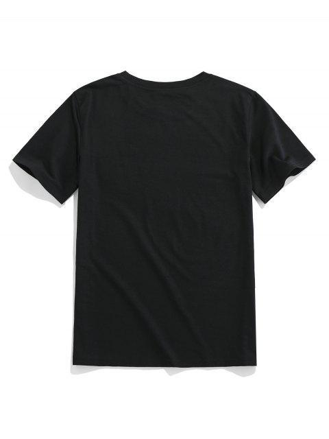 ZAFUL Camiseta Básica con Estampado de Flores - Negro S Mobile