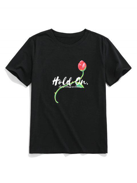 T-Shirt Pullover Floreale di ZAFUL - Nero M Mobile