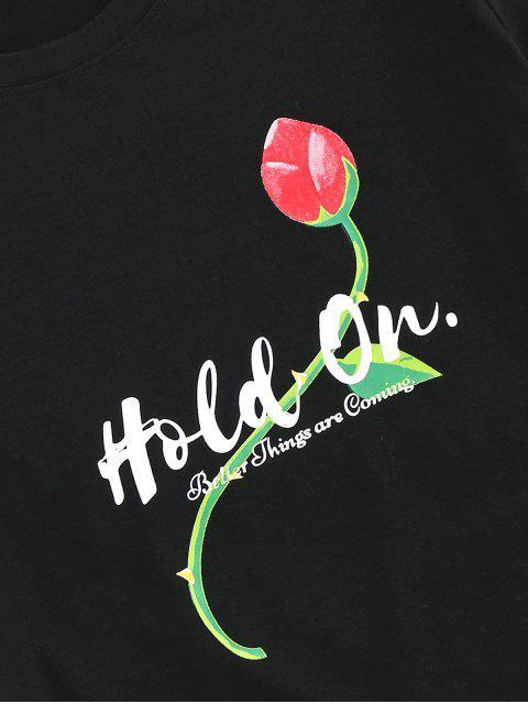 ZAFUL Handgeschnitzte Blumen Druck Basic T-Shirt - Schwarz L Mobile