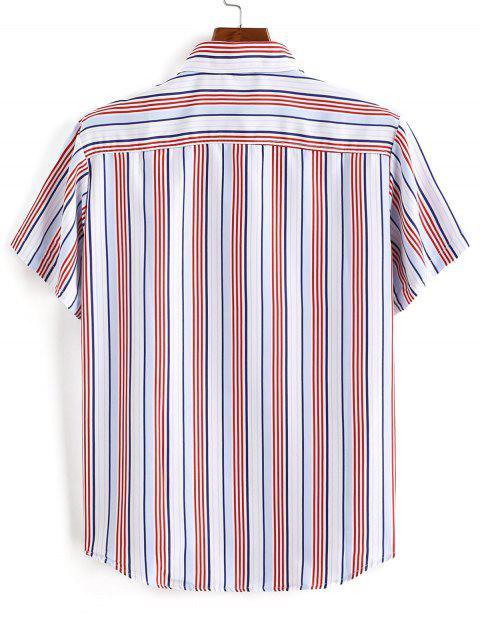 shop Striped Print Button Down Shirt - RED 3XL Mobile