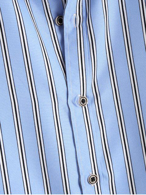 fashion Striped Short Sleeves Plain Shirt - LIGHT BLUE L Mobile
