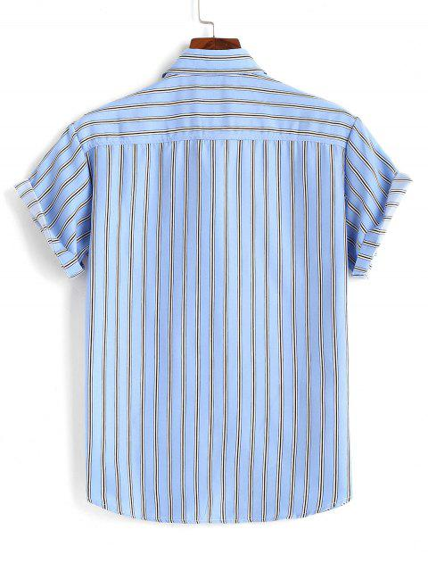 trendy Striped Short Sleeves Plain Shirt - LIGHT BLUE M Mobile