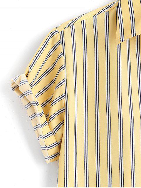 latest Striped Short Sleeves Plain Shirt - YELLOW 3XL Mobile