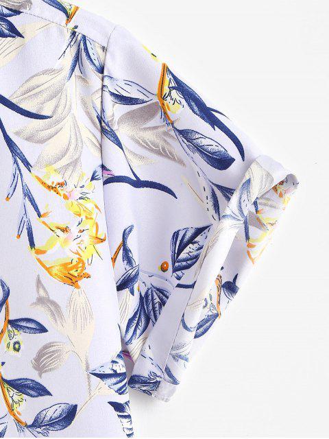 latest Flower Print Short Sleeve Button Up Shirt - LIGHT PURPLE 3XL Mobile