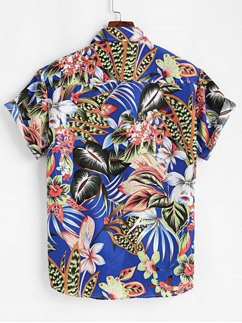 womens Tropical Flower Button Up Short Sleeve Shirt - COBALT BLUE 3XL Mobile