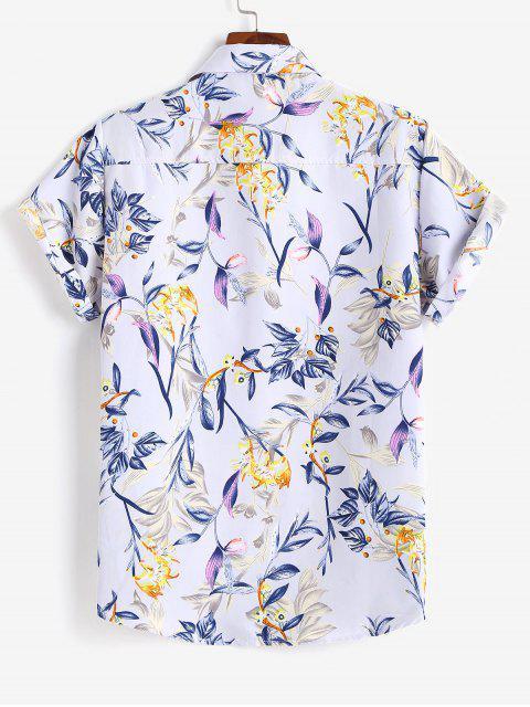 outfit Flower Print Short Sleeve Button Up Shirt - LIGHT PURPLE M Mobile