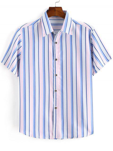 buy Striped Print Button Down Shirt - OCEAN BLUE 3XL Mobile