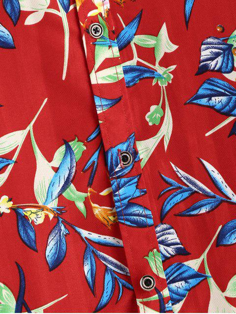 womens Flower Print Short Sleeve Button Up Shirt - RED 2XL Mobile