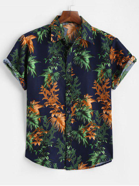 Tropical Leaves Short Sleeve Button Up Shirt - ازرق غامق L Mobile