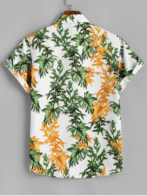 hot Tropical Leaves Short Sleeve Button Up Shirt - WHITE XL Mobile