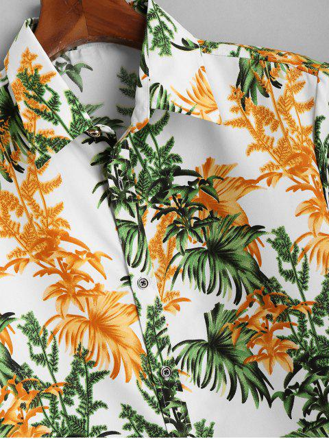 new Tropical Leaves Short Sleeve Button Up Shirt - WHITE L Mobile