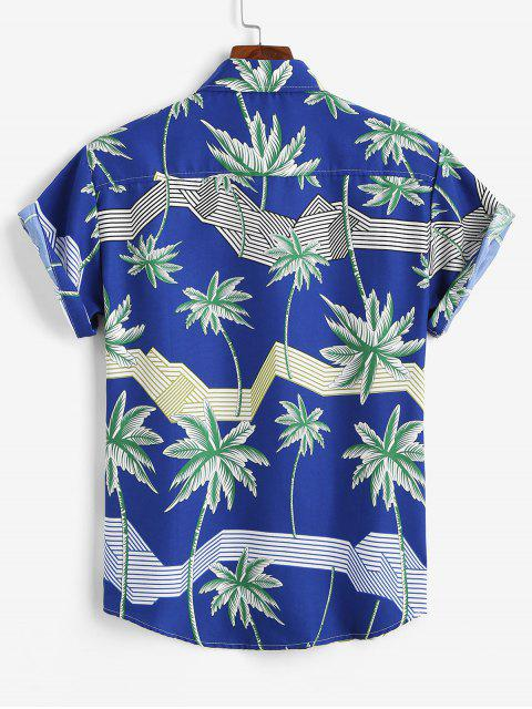 outfits Hawaiian Short Sleeves Palm Tree Stripes Print Shirt - BLUE 3XL Mobile