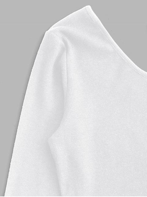 Conjunto de Dos Piezas con Enrejado en Un Hombro - Blanco XL Mobile