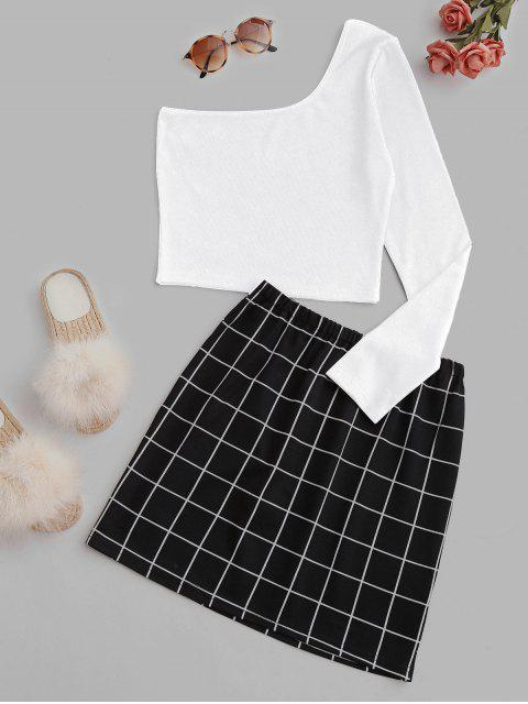 affordable Windowpane Check One Shoulder Two Piece Suit - WHITE S Mobile