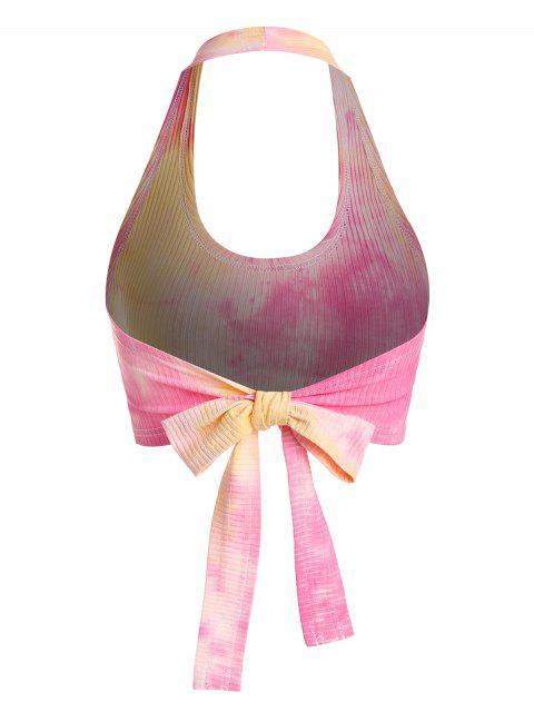 ZAFUL Top Corta de Tie-dye con Cuello en V - Multicolor-D S Mobile