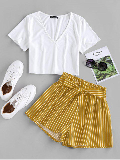 latest ZAFUL Belted Striped Two Piece Set - DEEP YELLOW S Mobile