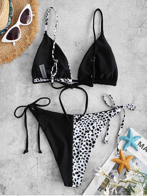 ZAFUL Zweifärbiges Leopard Tanga Bikini Badebekleidung - Schwarz M Mobile