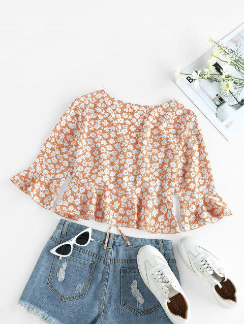 unique ZAFUL Cinched Ditsy Print Bell Sleeve Blouse - DEEP PEACH S Mobile