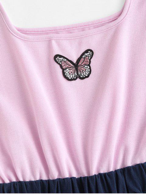 women ZAFUL Two Tone Cuffed Hem Butterfly Embroidered Romper - LIGHT PURPLE L Mobile