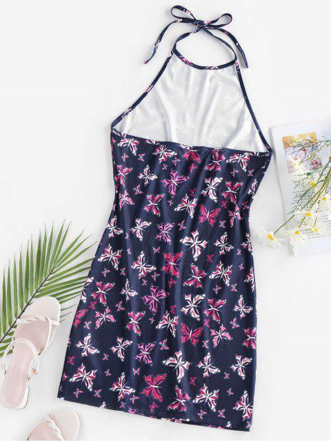 women ZAFUL Halter Butterfly Print Mini Bodycon Dress - CADETBLUE S Mobile