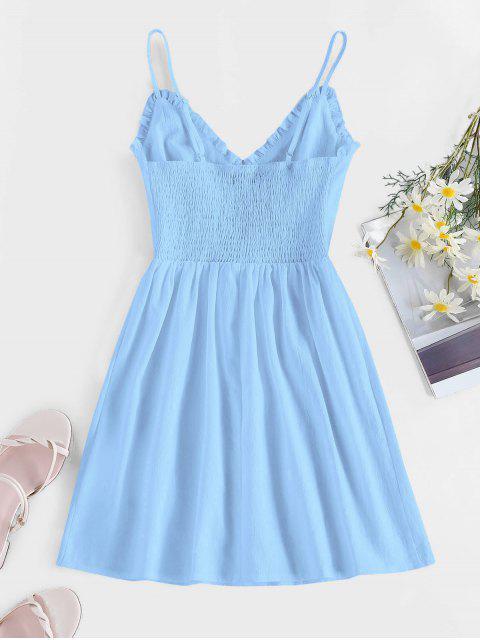 shop ZAFUL Frilled Buttoned Smocked Sundress - LIGHT BLUE S Mobile