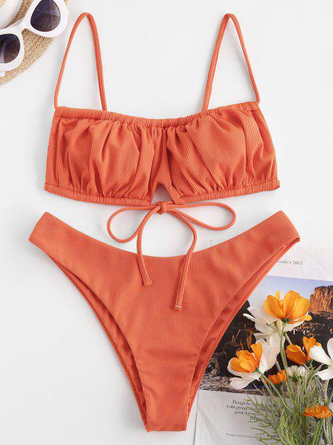 sale ZAFUL Ribbed Tie Detail Ruched Bikini Swimwear - ORANGE S Mobile